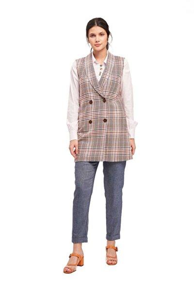 Kadın Safran Ekose Desenli Yelek  Ceket
