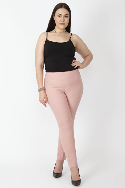 Kadın Pembe Gizli Kemer Yan Fermuarlı Klasik Pantolon 65N16892