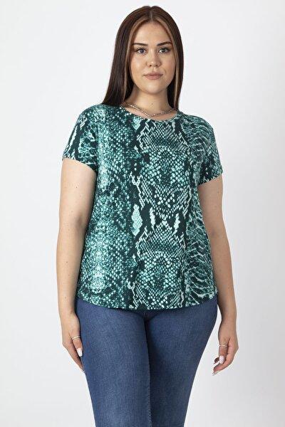 Kadın Yeşil Bisiklet Yakalı Basic Desenli Tişört 65N16888