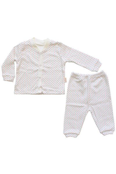 Puanlı 2'li Bebek Pijama Takımı - Lacivert Kırmızı