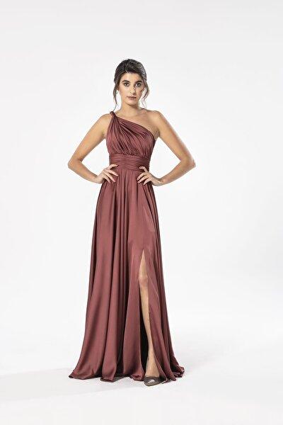 Kadın Tarçın Helen Tek Omuz Saten Elbise 4923ST