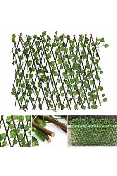 Yapay Çiçek Akordiyon Çit Yapay Sarmaşık lı Duvar Dekoru 210x90 cm