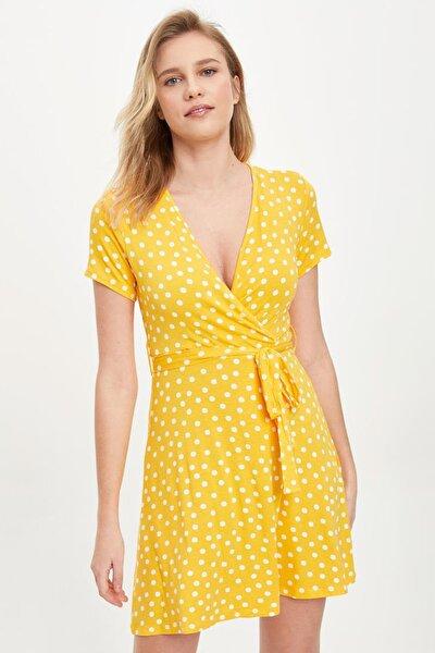 Kadın Sarı Desenli Kısa Elbise L1445AZ.20SM.YL1