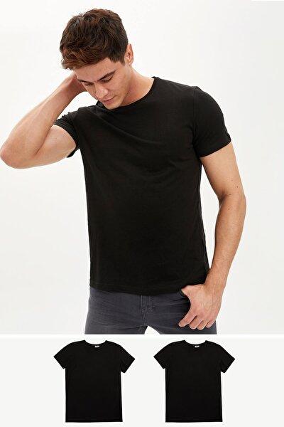 Erkek Siyah Bisiklet Yaka Kısa Kollu Basic T-Shirt 2'Li