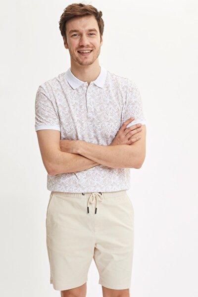 Erkek Bej Çiçek Desenli Polo Yaka Slim Fit Pike T-Shirt