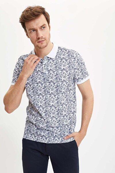 Erkek Lacivert Çiçek Desenli Polo Yaka Slim Fit Pike T-Shirt S3483AZ.20HS.NV64