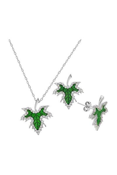 Yeşil Mineli Mini Çınar Yaprağı Gümüş Kolye Küpe Set dz04