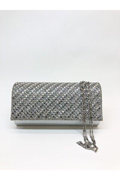 Kadın Gümüş Renk Taş Işlemeli Mıknatıslı Kapak Abiye Portföy Clutch Çanta