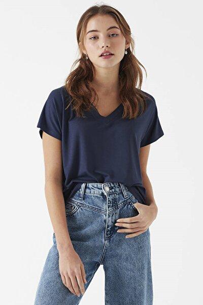 Kadın V Yaka Mavi Basic T-Shirt 167714-28319