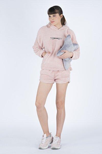 Kadın Pembe Wellsoft 2li Premium Pijama Takımı Meow100