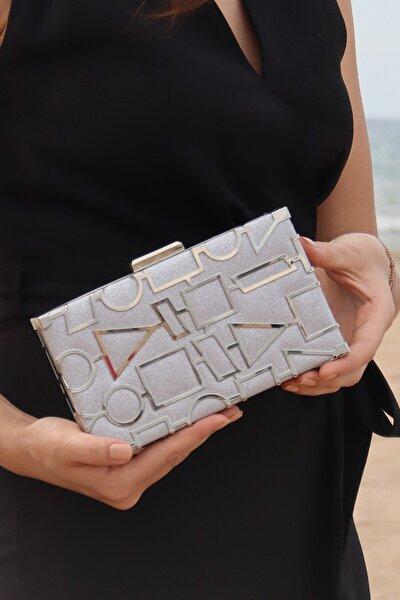 Kadın Gümüş Kum Sim Geometri Lazerli Abiye Çanta
