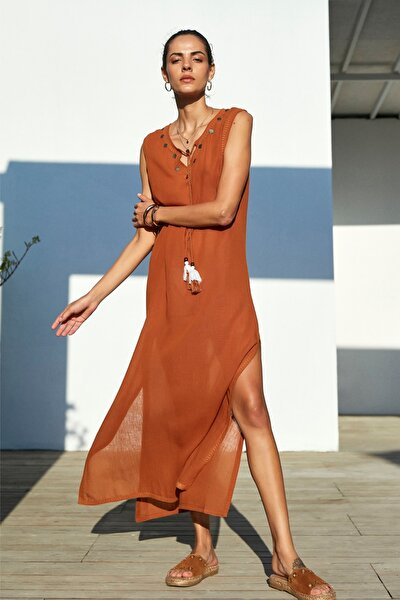 Kadın Kahverengi Püskül Detaylı Midi Boy Elbise 1203220