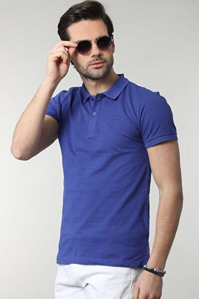 Erkek Lacivert Polo Yaka Düz T-shirt
