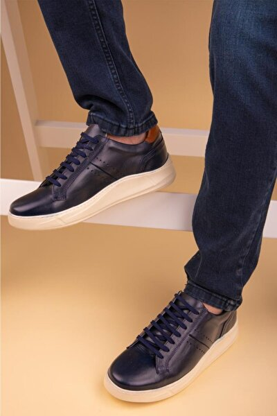 Erkek Lacivert Hakiki DeriSneaker