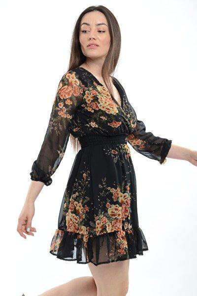 Kadın Siyah Çiçek Baskılı Elbise  20822001E2A