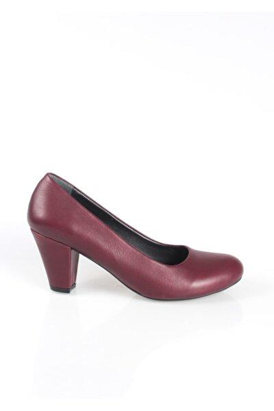 Kadın Bordo Hakiki Deri Topuklu Ayakkabı