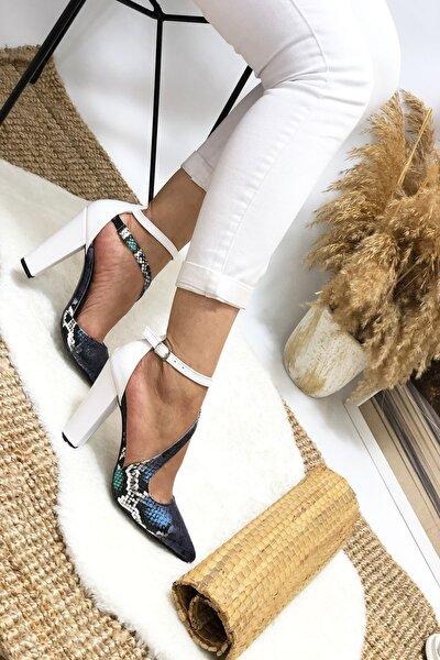 Mavi Yılan Çapraz Topuklu Ayakkabı