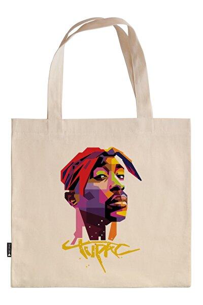 Tupac Resim ve Yazılı Renkli 45x40 cm. Baskılı Ham Bez Çanta