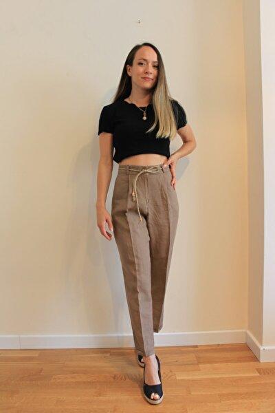 Kadın Kemer Detaylı Kahverengi Keten Pantolon