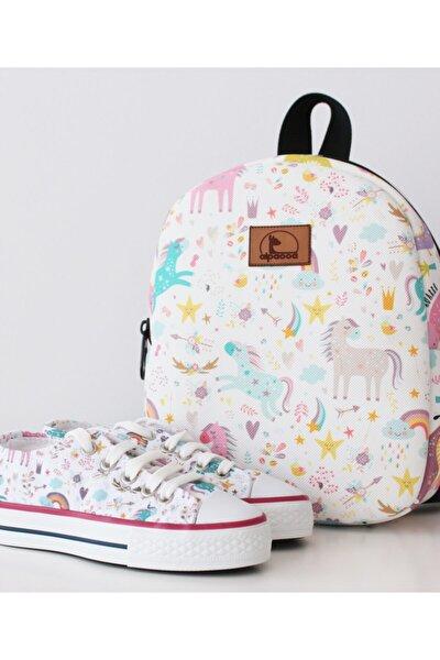 White Unicorn Ayakkabı Çanta Takımı