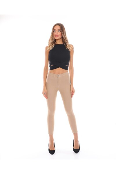 Kadın Tayt Model Koyu Likralı Kot Pantolon