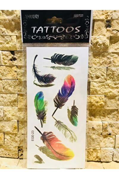 Geçici Renkli Tüy Modelli Dövme Tattoo
