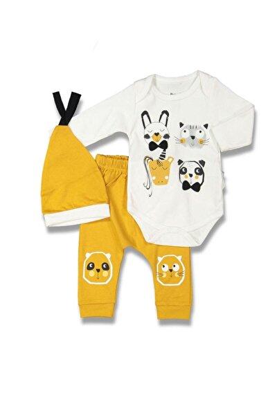 Erkek Bebek Beyaz Sarı Animals 3'lü Body'li Takım