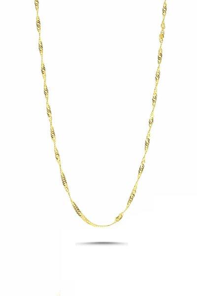 Gümüş 45 cm Singapur Altın Yaldızlı Zincir Kolye