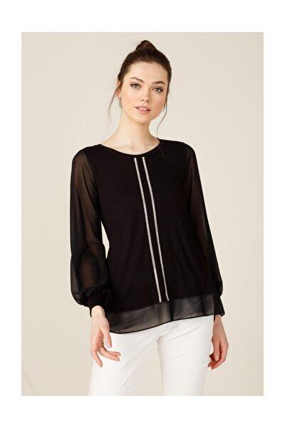 Kadın Siyah Önü Şerit Taşlı Penye Bluz 20Y.On.Blz.32531.01