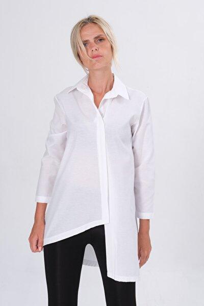 Kadın Beyaz Etek Çapraz Kesim Gizli Fermuarlı Uzun Gömlek