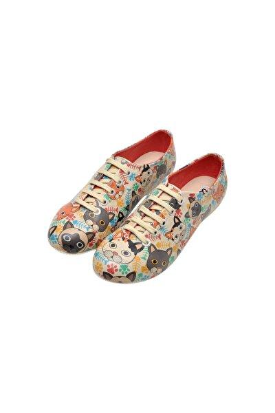 Kadın Çok Renkli Suni Deri Cat Head Oxford Ayakkabı
