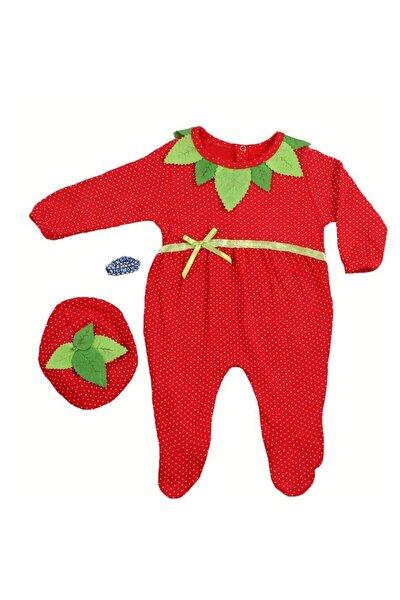 0-6 Ay Kız Bebek Çilek Tulum 3 Lü Set