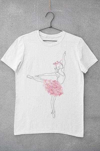 Flower Balerine Baskılı Kadın T-Shirt
