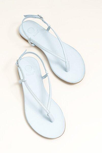 MANISHA Hakiki Deri Mavi Kadın Sandalet