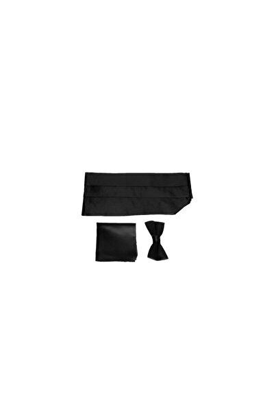 Siyah Renk Mat Kuşak Papyon Seti Damatlık Smokin Kemeri