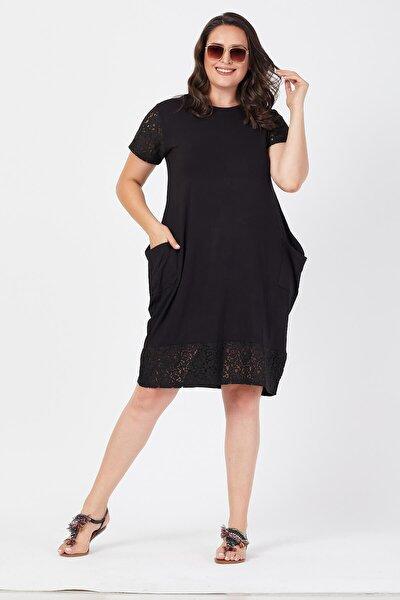 Kadın Siyah Büyük Beden Dantel Detaylı Cepli Elbise