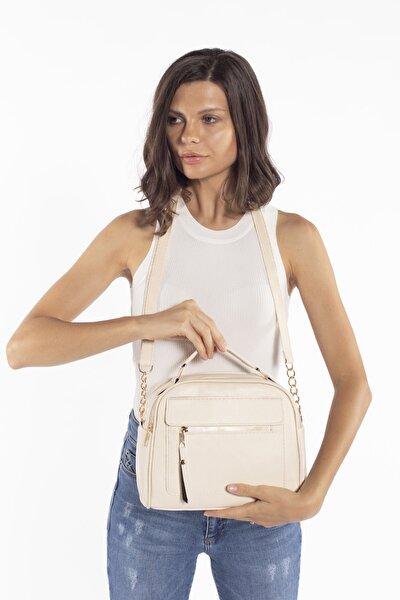 Aynı Butikte 2. Ürün 1 TL Krem Kadın Çok Bölmeli Omuz Çantası Çapraz Çanta ve El Çantası