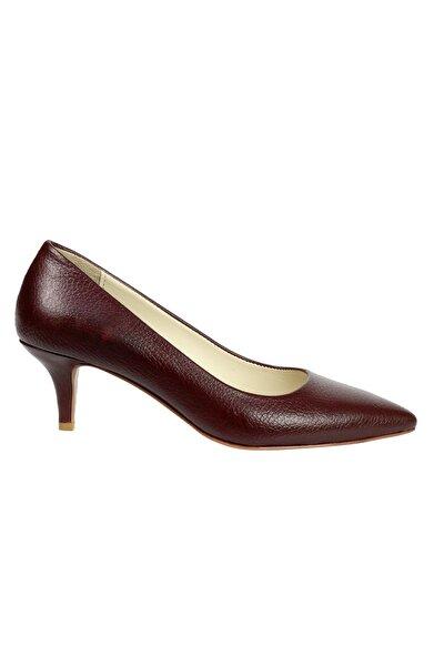 Kadın Bordo Hakiki Flotur Deri Topuklu Ayakkabı