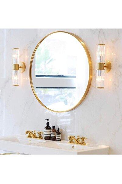 Nehir 70 Cm'lik Altın Rengi Yuvarlak Ayna,dekoratif Ayna