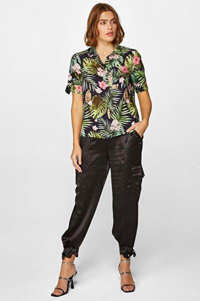 Kadın Siyah Tropik Desenli kısa kollu Gömlek 60358 U60358