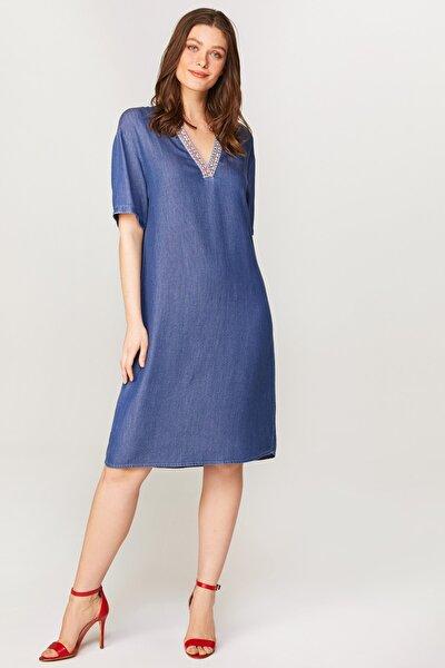 Kadın Mavi Şerit Detaylı Jean Elbise 60455 U60455