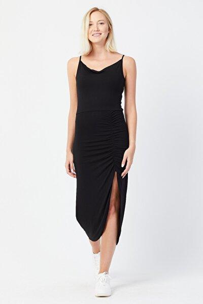 Kadın Ince Askılı Yırtmaç Detaylı Elbise