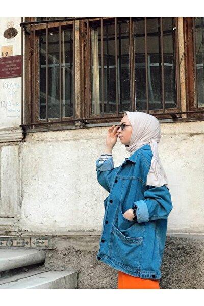 Kadın Mavi Wintage Oversize Kot Ceket