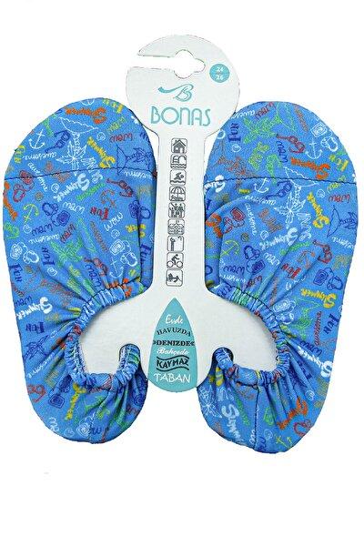Çocuk Mavi Yazılı Desen Kaymaz Taban Havuz Ve Deniz Ayakkabısı