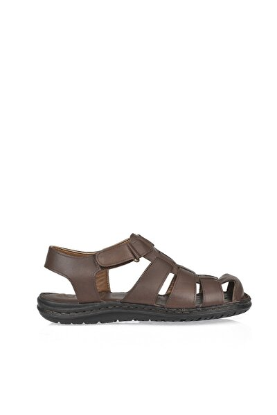 Erkek Kahverengi Hakiki Deri Sandalet 101143 T195