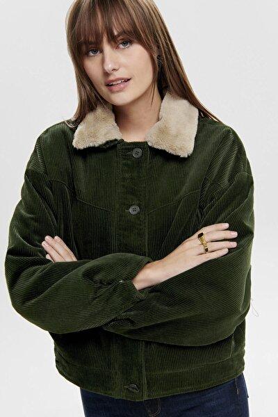 Kadın Yeşil Yakası Suni Kürklü Ceket 15184483 ONLBITTEN