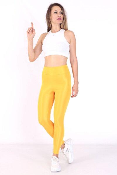 Kadın Sarı Parlak Tayt