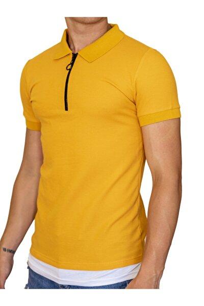 Erkek Basic Polo Yaka T-shirt Turunucu