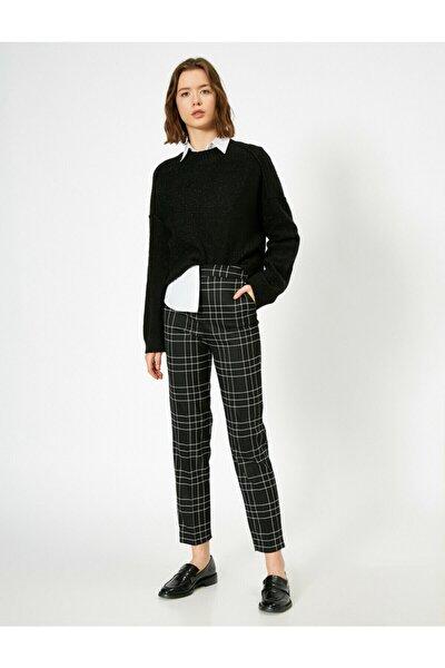 Kadın Siyah Kareli pantolon 0KAK42874UW