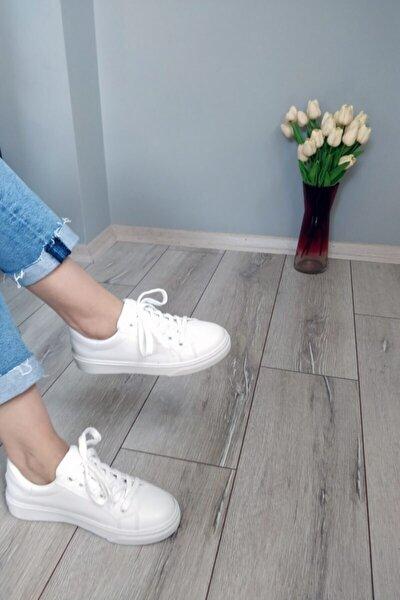 Kadın Beyaz Deri Sneaker Ayakkabı